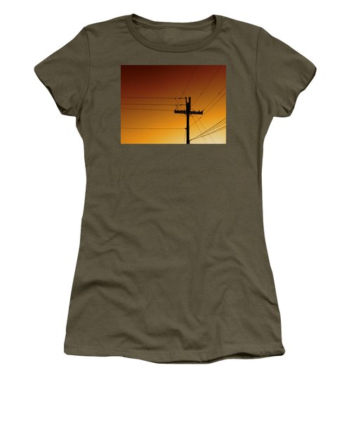 Power Line Sunset Women's T-Shirt (Athletic Fit)