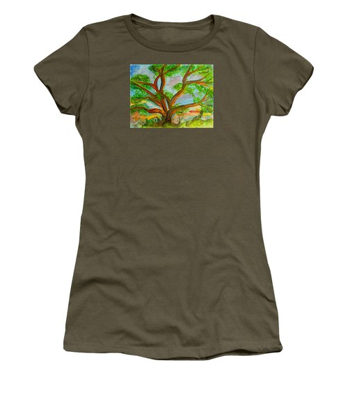 Prayer Mountain Tree Women's T-Shirt (Athletic Fit)