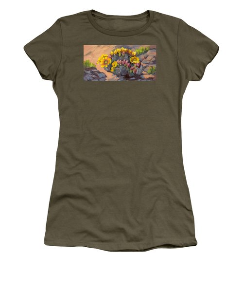 Prickly Pear Cactus In Bloom Women's T-Shirt (Athletic Fit)
