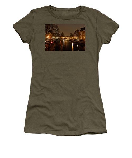 Prinsengracht Canal After Dark Women's T-Shirt (Junior Cut) by Jonah  Anderson