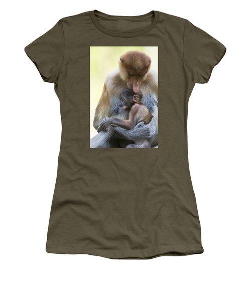 Proboscis Monkey Mother Holding Baby Women's T-Shirt