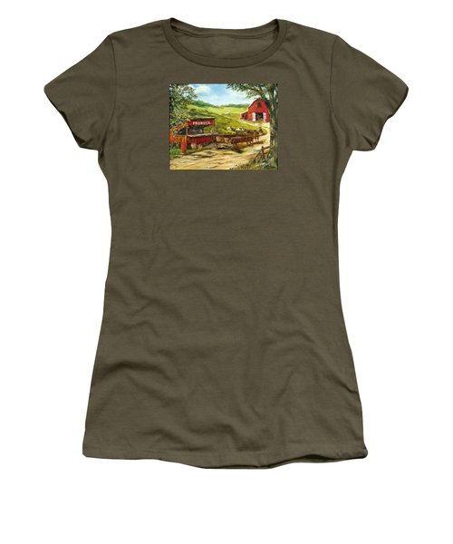 Women's T-Shirt (Junior Cut) featuring the painting Produce Stand by Lee Piper