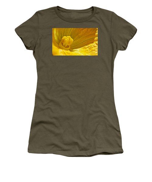 Pumpkin Blossom Women's T-Shirt (Junior Cut) by Linda Bianic
