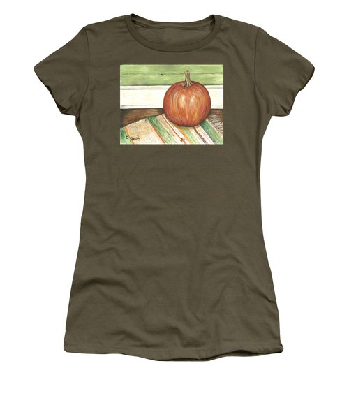 Pumpkin On A Rag Rug Women's T-Shirt (Athletic Fit)