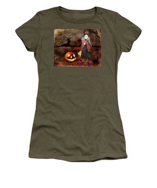 Pumpkinella The Magical Good Witch And Her Magical Cat Women's T-Shirt (Athletic Fit)