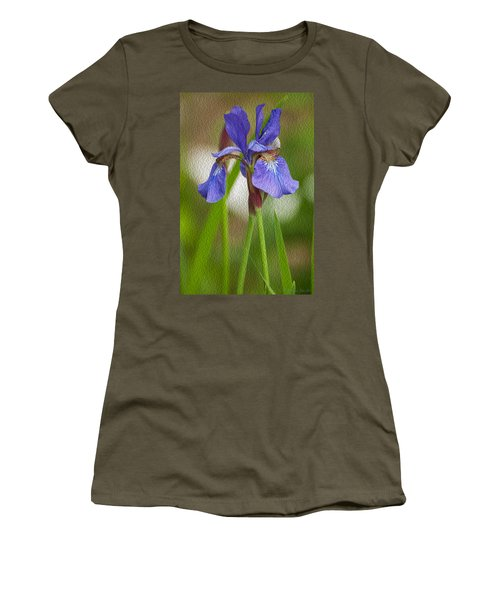 Purple Bearded Iris Oil Women's T-Shirt (Athletic Fit)