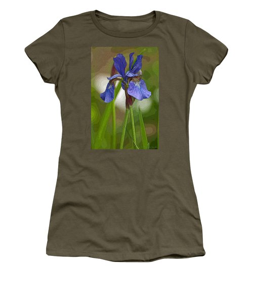 Purple Bearded Iris Watercolor With Pen Women's T-Shirt (Athletic Fit)