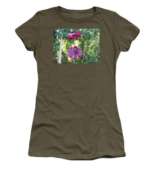 Women's T-Shirt (Junior Cut) featuring the photograph Purple Flowers by HEVi FineArt
