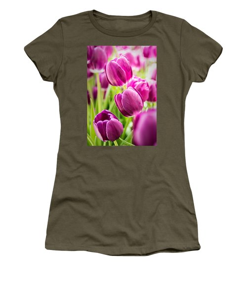 Purple Tulip Garden Women's T-Shirt