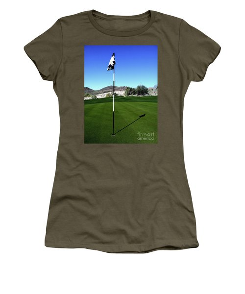 Putting Green And Flag On Golf Course Women's T-Shirt