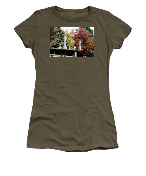 Women's T-Shirt (Junior Cut) featuring the photograph Quad Crosses In Fall by Lesa Fine
