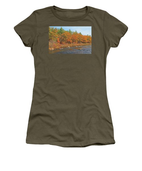 Quinapoxet River In Autumn Women's T-Shirt (Athletic Fit)