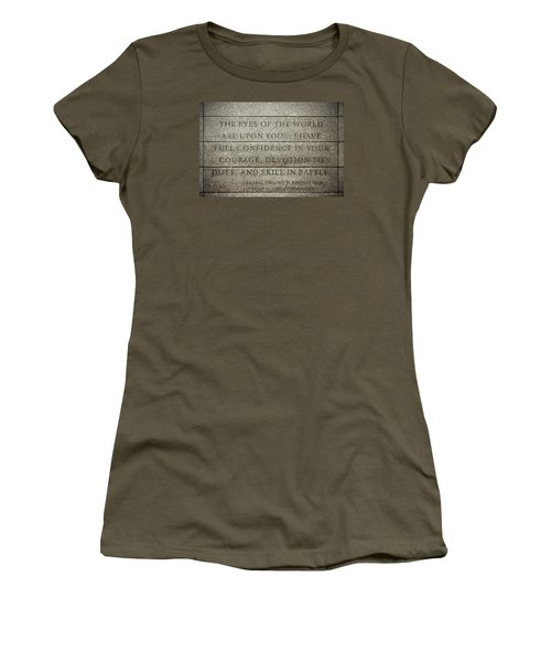 Quote Of Eisenhower In Normandy American Cemetery And Memorial Women's T-Shirt
