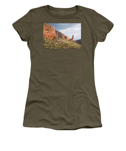 Women's T-Shirt (Junior Cut) featuring the photograph Rabbit Ears Spire At Sunset by Jeff Goulden