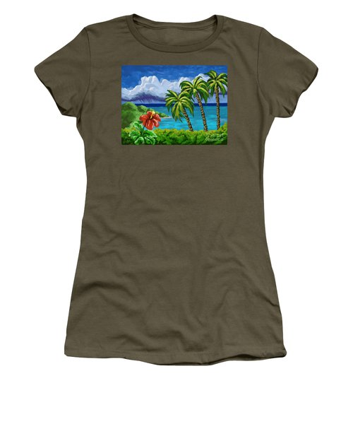 Women's T-Shirt (Junior Cut) featuring the painting Rain In The Islands by Tim Gilliland