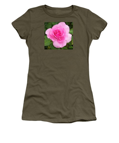 Rain Kissed Rose Women's T-Shirt (Junior Cut) by Catherine Gagne