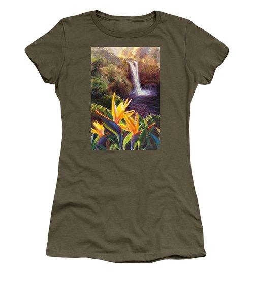 Rainbow Falls Big Island Hawaii Waterfall  Women's T-Shirt