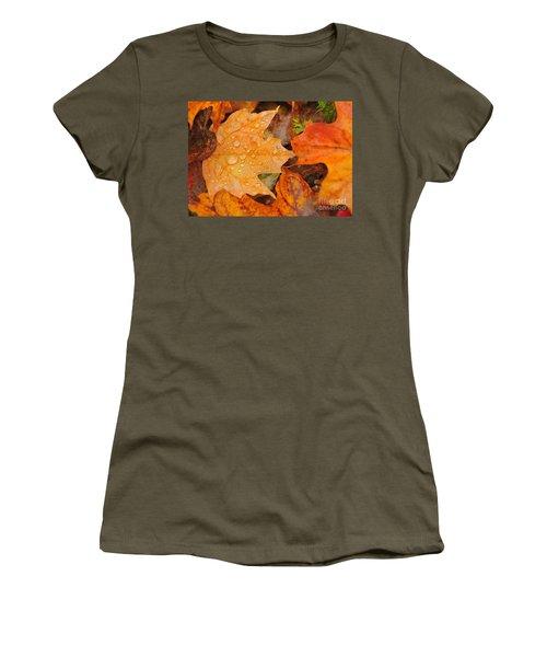 Raindrops On Fallen Maple Leaf Women's T-Shirt