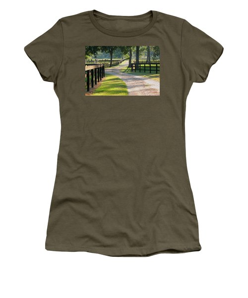 Ranch Road In Texas Women's T-Shirt (Junior Cut) by Connie Fox