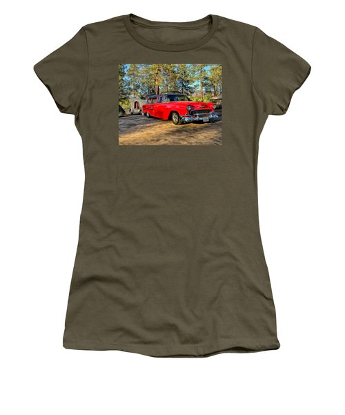 Women's T-Shirt (Junior Cut) featuring the painting Red '55 Chevy Wagon by Michael Pickett