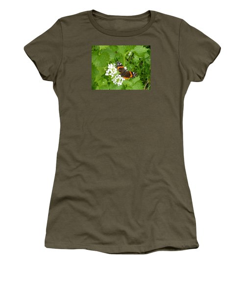 Women's T-Shirt (Junior Cut) featuring the photograph Red Admiral Butterfly by Lingfai Leung