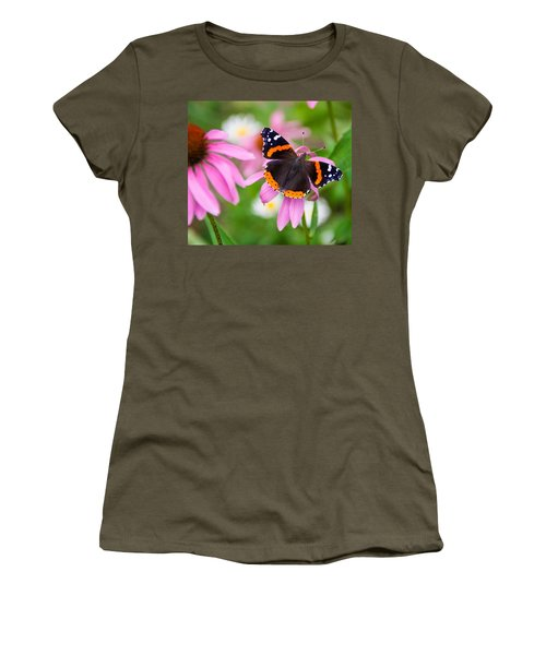 Women's T-Shirt (Junior Cut) featuring the photograph Red Admiral Butterfly by Patti Deters