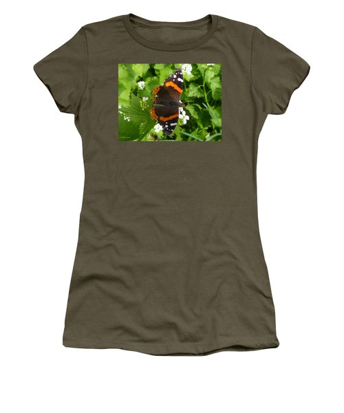 Women's T-Shirt (Junior Cut) featuring the photograph Red Admiral In Toronto by Lingfai Leung