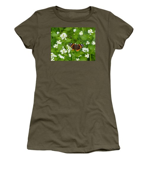 Women's T-Shirt (Junior Cut) featuring the photograph Red Admirals by Lingfai Leung