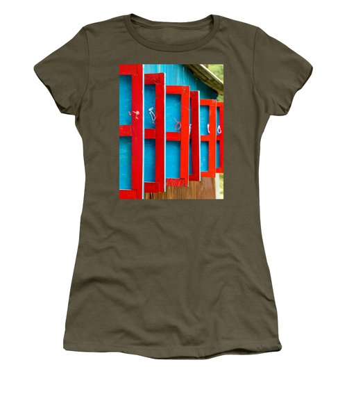 Red And Blue Wooden Shutters Women's T-Shirt