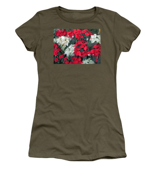 Red And White Poinsettias Women's T-Shirt