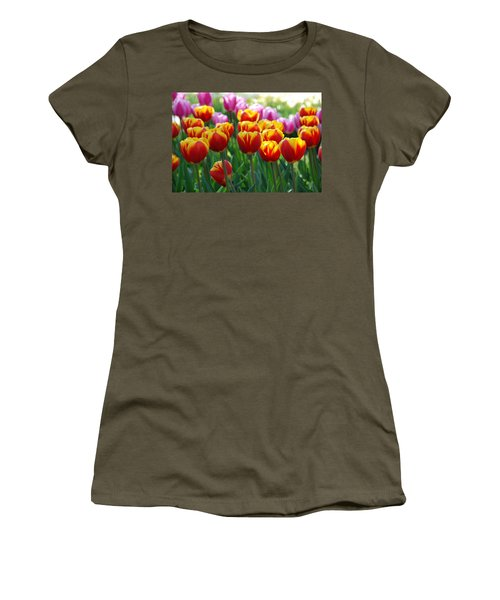 Women's T-Shirt (Junior Cut) featuring the photograph Red And Yellow Tulips  by Allen Beatty