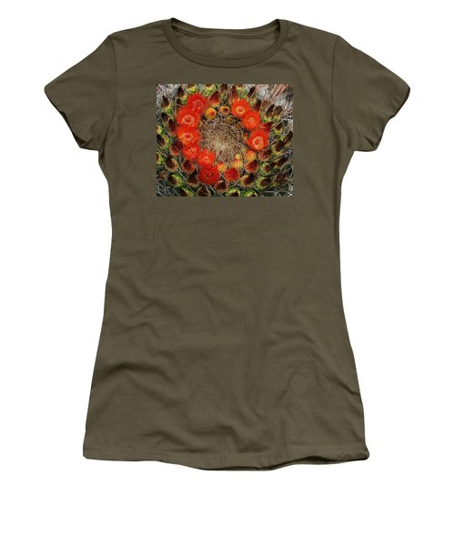 Women's T-Shirt (Junior Cut) featuring the photograph Red Barell Cactus Flowers by Tom Janca