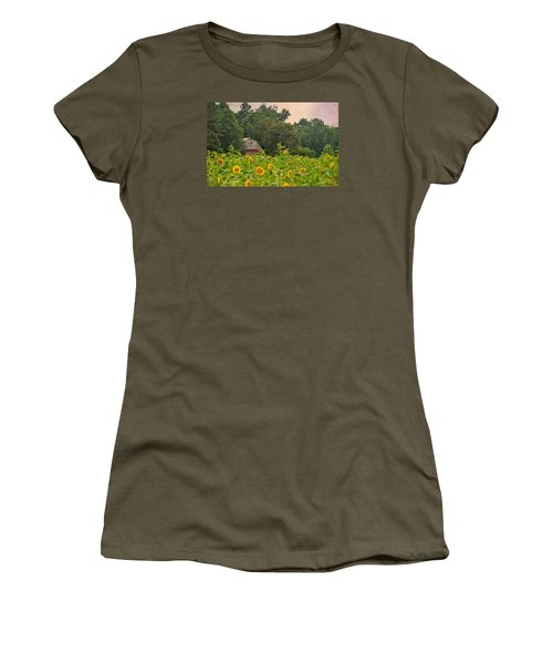 Red Barn Among The Sunflowers Women's T-Shirt (Junior Cut) by Sandi OReilly
