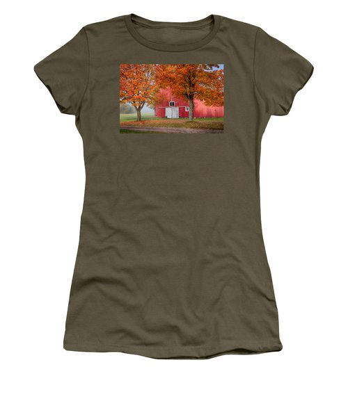 Women's T-Shirt (Junior Cut) featuring the photograph Red Barn With White Barn Door by Jeff Folger