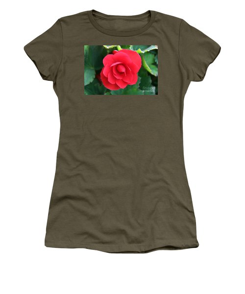 Red Begonia Women's T-Shirt (Junior Cut) by Sergey Lukashin