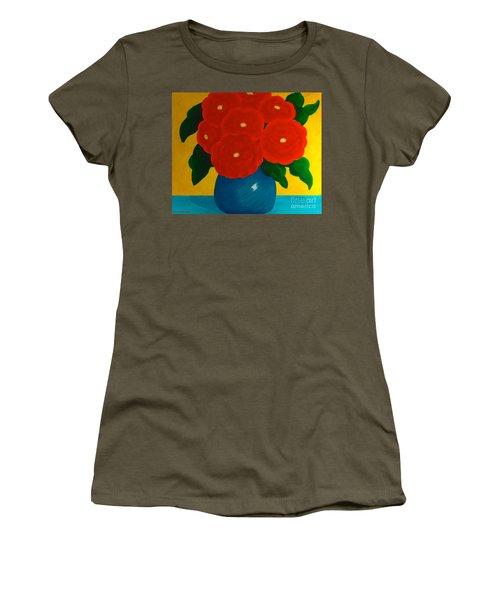Red Bouquet Women's T-Shirt (Junior Cut) by Anita Lewis
