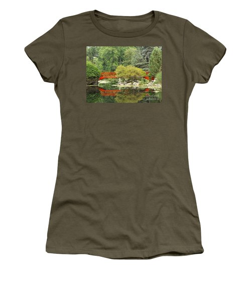 Red Bridge Reflection In A Pond Women's T-Shirt (Athletic Fit)