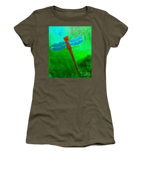 Red Dragonfly Women's T-Shirt (Junior Cut) by Anita Lewis