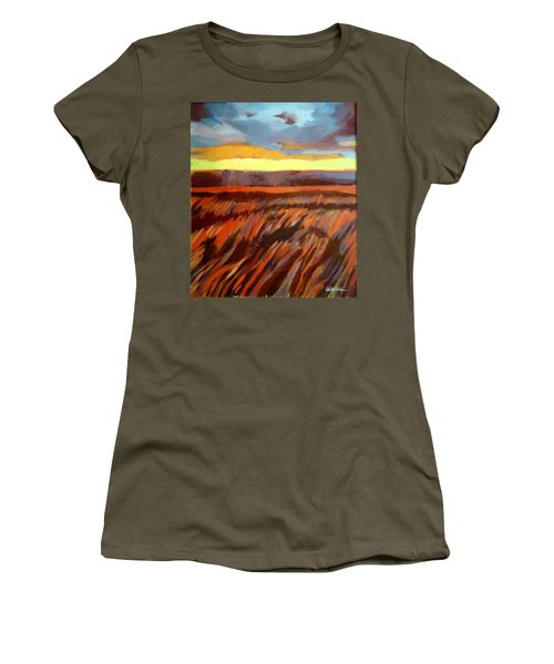 Women's T-Shirt (Junior Cut) featuring the painting Red Field by Helena Wierzbicki