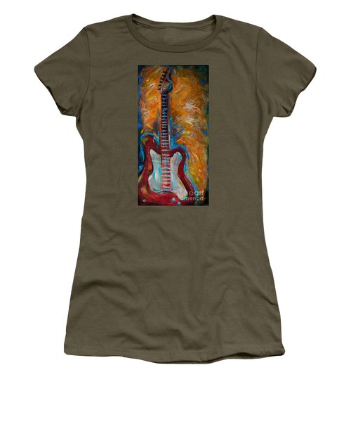 Women's T-Shirt (Junior Cut) featuring the painting Red Guitar by Linda Olsen
