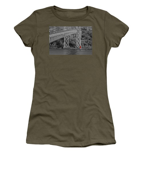 Red Lighthouse And Great Gray Bridge Bw Women's T-Shirt