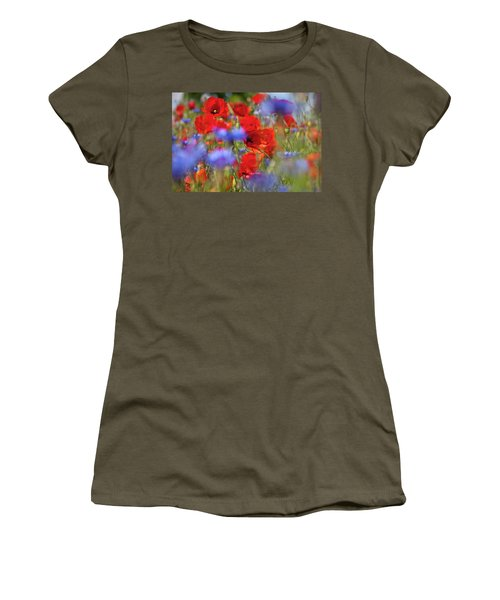 Red Poppies In The Maedow Women's T-Shirt (Junior Cut) by Heiko Koehrer-Wagner