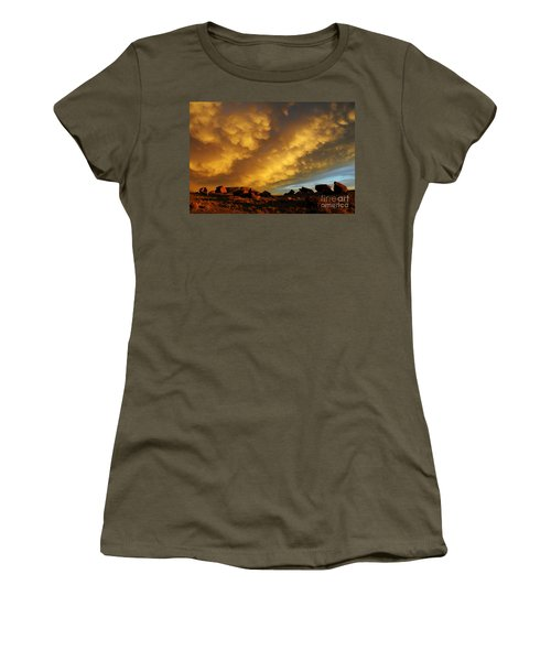 Women's T-Shirt (Junior Cut) featuring the photograph Red Rock Coulee Sunset by Vivian Christopher
