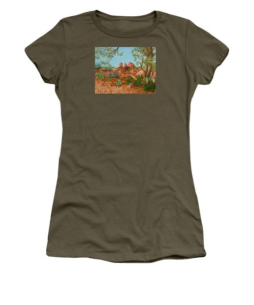 Women's T-Shirt (Junior Cut) featuring the painting Landscapes Desert Red Rocks Of Sedona Arizona by Katherine Young-Beck