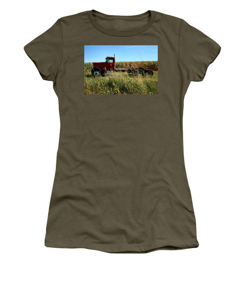 Red Truck In A Corn Field Women's T-Shirt (Athletic Fit)