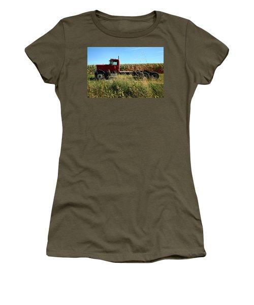 Red Truck In A Corn Field Women's T-Shirt (Junior Cut) by Lon Casler Bixby