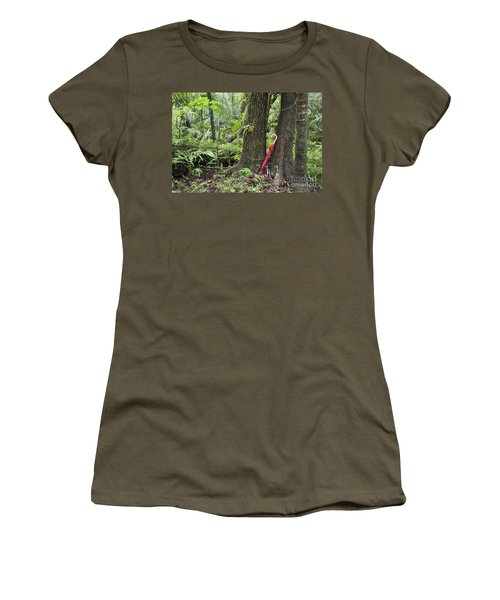 Women's T-Shirt featuring the photograph Red Umbrella Leaning Against Tree In Rainforest by Bryan Mullennix