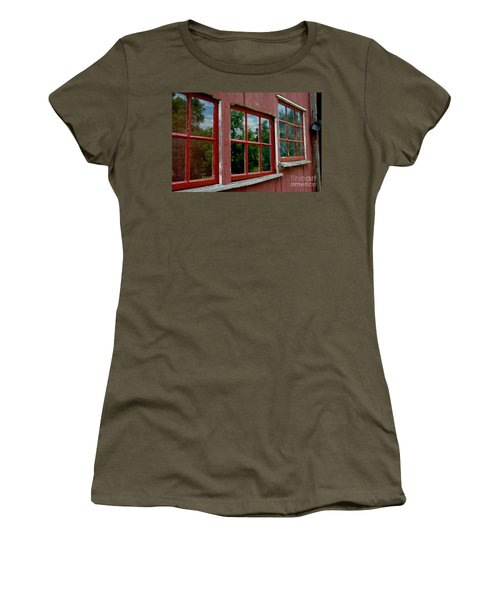 Women's T-Shirt (Athletic Fit) featuring the photograph Red Windows Paned by Christiane Hellner-OBrien