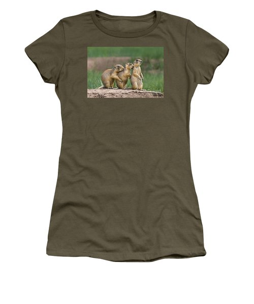 Women's T-Shirt featuring the photograph Relaxing Utah Prairie Dogs Cynomys Parvidens Wild Utah by Dave Welling