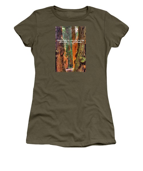 Rest In The Shadow Of The Almighty - Psalm 91.1 - From Sunlight Beams Into The Grove At Muir Woods Women's T-Shirt (Junior Cut) by Michael Mazaika